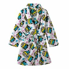 NEW girls MINIONS 2-pocket BATHROBE fleece HEARTS tie belt WHITE polyester SZ 8