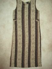 SZ S LONG SHADES OF BROWN  PRINT DRESS  FROM SAG HARBOR UNLINED AND SLEEVELESS