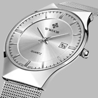Top Brand Luxury WWOOR Men's Watches Stainless Steel Band Analog Display Quartz
