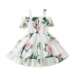 Baby Girls Swings Dress Suspender Off-Shoulder Sundress Princess Swings Skirts