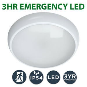 LED 3hr Emergency Maintained / Non Maintained Round Ceiling Bulkhead Light IP54