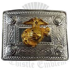 Men's Kilt fibbia della cintura US Marine DISTINTIVO ORO/US Marine Cintura Fibbia finitura cromata