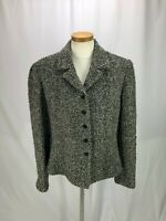 Jones New York Women's Black and Gray Fuzzy Blazer 14 Wool Blend