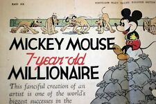 Mickey Mouse 1935 Newspaper Feature 7th Birthday Walt Disney Kay Kamen Color Art