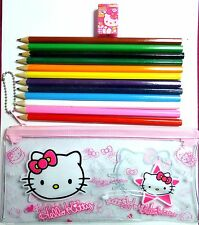 Hello Kitty Set of 12 Coloured Pencils & Sharpener in Plastic Pencil Case Gift