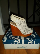 New Authentic Lucky White Platform Wedge White Lace Sandals Size 6 M