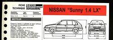 """Fiche Technique Automobile R.T.A (RTA) ; NISSAN """" Sunny 1,4 LX  """""""