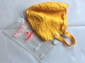 Vintage SWIM CAP Sunwear Swimmers Cap w/ Strap Yellow Flower Petal Design. Spain