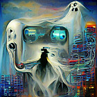 Cyberpunk Ghost for Halloween digital art