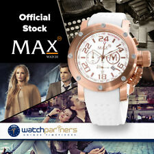 MAX WATCH CLASSIC SPORTS CHRONO 5ATM WHITE DIAL IP ROSE CASE 42mm DIAM 5-MAX469