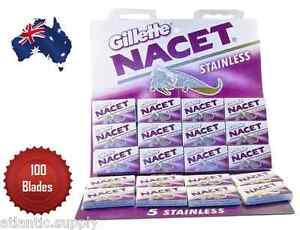 GILLETTE NACET STAINLESS STEEL DOUBLE EDGE RAZOR BLADES PACK OF 100 - AUS SELLER