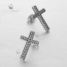 steel gothic earrings solid design cross stud vintage silver style stainless