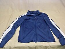 TEK GEAR Jacket Coat Poly Stretch Running Workout Blue w/White Women's Sz S