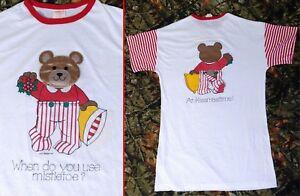 VTG Christmas Mistletoe Kiss Teddy Bear Butt Tall Pajama Shirt Red/White Striped