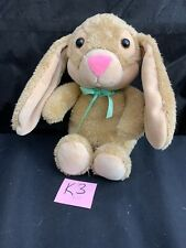 "Hallmark Plush Bunny Rabbit Soft Plush Brown with Pink Nose Green Ribbon 12"" K3"