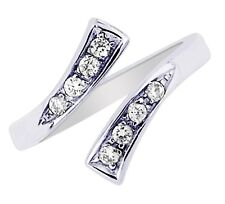 Sterling Silver Crossover Cubic Zirconia Toe Ring Body Art Adjustable