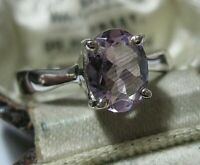 Sterling Solid SILVER Real Amethyst Gem Stone RING Jewellery Size O 7