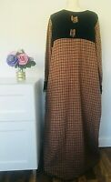 VINTAGE Dress Size UK 18 / 20 BROWN | CHECK Victorian Modest Stage Prop Wool