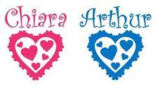 1 Sticker -- Porte de Chambre -- Coeur + Prénom --  PORT GRATUIT