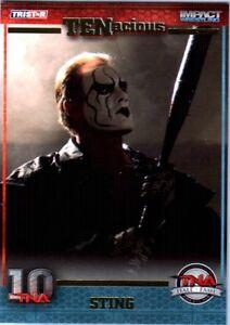 TNA Sting Hall of Fame #117 2012 TENacious Short Print Insert Card SN 4 of 100