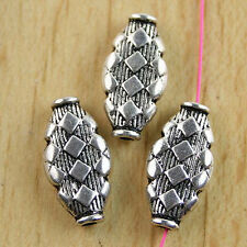 14 Pcs Tibetan silver crafted oval spacer beads H0140