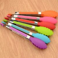 Food Silicone Kitchen Tongs utensil Cooking Clamp accessories Serving BBQ tool