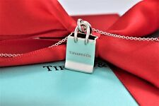"Tiffany & Co. Sterling Silver ""Tiffany Shopping Bag"" Charm 16"" Necklace w/ Pouch"