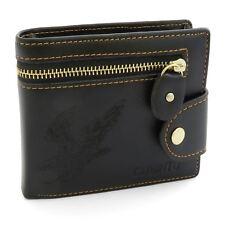 Mens Black Eagle Genuine Leather Wallet Coin Pocket ID Credit Card Holder Purse