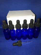 6 - 1/2 Oz COBALT Glass Bottle with Glass Eye Dropper (15ml) - Pack of 6, New