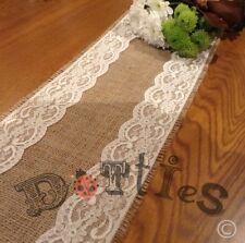 10ft Bespoke Hessian and Lace Table Runner