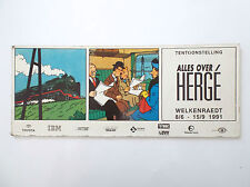 Petit Panneau Tintin Exposition TOUT HERGE Welkenraedt 1991 Tim Kuifje