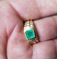 18k yellow gold ring with emerald, 18k gold men ring, 18k gold women ring
