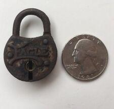 "Antique Metal Eagle Lock Co Miniature Padlock Without Key 1-3/8""x1"" Mini Rare"