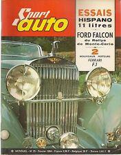 SPORT AUTO 25 1964 COLIN CHAPMAN FORD FALCON SPRINT 1964 HISPANO SUIZA V12 11L