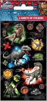 Jurassic World Party Stickers 6 Sheets of Stickers Official licensed product