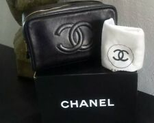 Authentic CHANEL CC Clutch Bag Cosmetic Pouch Black Caviar Leather