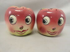 Vintage JAPAN Shiny APPLE Anthropomorphic 1950's Salt & Pepper Shaker Set