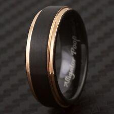"CLOSEOUT! Tungsten Rose Gold & Black Ring Size 5.5 Engraved ""Alligator Poop"""