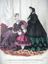 GRAVURE ANCIENNE MODE 19e - CONSEILLER DAMES DEMOISELLES  -  FEVRIER 1863