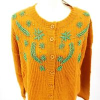 PEPALOVES Beaded Oversized Cardigan Sweater Yellow Mustard Green XS S M L