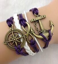 Bracelet violet et blanc boussole et ancre de bateau lien infini couleur bronze