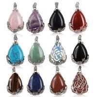 Natural Quartz Crystal Stone Teardrop Healing Gemstone Necklace Pendant Jewelry