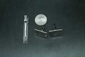 Anson Sterling Silver Men's Cuff Links & Tie Clasp Set