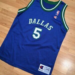 Vintage Dallas Mavericks Jersey Jason Kidd Jersey Vtg Champion Youth NBA L 90s