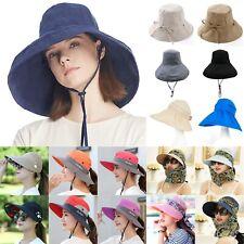 ce176714d959f Women s Anti-UV Fashion Wide Brim Summer Beach Cotton Sun Bucket Hat