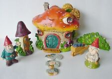 9 Piece Gnome Village 2 Gnomes,House,Outhouse,Shr ub,Wheelbarrow,Stepping Stones