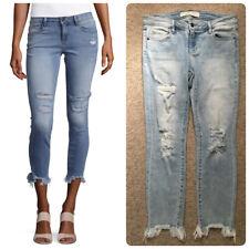 Hidden Jeans Women's Destroyed Skinny Raw Hem Capri Jeans Blue size 28