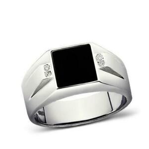 Square Black Onyx Ring for Man with 4 Diamonds in 925 Sterling Silver