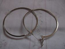 BRAND NEW>SILVER>PLATED>LARGE>FLAT>HOOP>PATTERN>EARRINGS>.DIAMETER>3 INCHES>