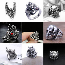 Vintage Mens Silver Stainless Steel Gothic Masonic Biker Rings Jewelry lots 8-10
